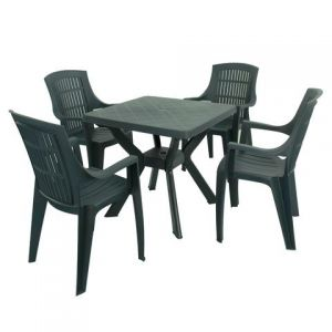 Turin Green Table with 4 Parma Chairs