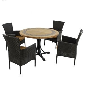 Vermont Dining Table with 4 Brown Stockholm Chairs