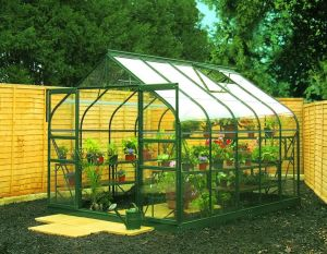 Halls Supreme 10x8 Greenhouse Forest Green