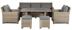 Royalcraft Wentworth Rattan Sofa Dining Set with Adjustable Table