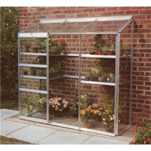 Wall Garden Lean-To 6x2 Greenhouse SIlver Aluminium