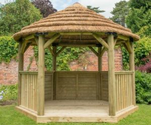 Forest 3.6m Hexagonal Wooden Thatched Roof Gazebo with Terracotta Roof Lining