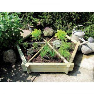 Grange Herb Wheel Wooden Planter
