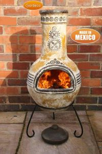 Gardeco Azteca  Large Mexican Clay Chiminea Yellow