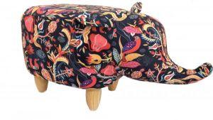 Gardeco Balarama The Colourful Flower Fabric Elephant Footstool