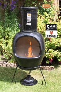 Gardeco Asteria Chimalin AFC Clay Ex-Large Glazed Black Chiminea