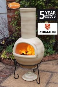 Gardeco Sempra Chimalin AFC Clay Large Glazed Green Chiminea