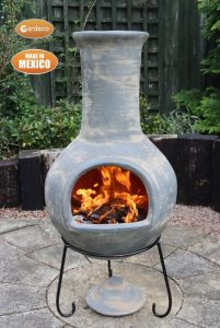 Gardeco Colima Extra Large Mexican Clay Chiminea Mid Grey