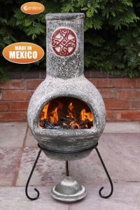 Gardeco Cruz Large Mexican Clay Chiminea Green with Red Motif