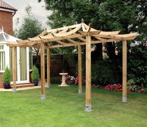 Grange Japanese Extended Pergola (shown with bolt down anchors)