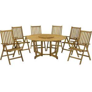 Royalcraft Henley Hardwood Round Gateleg Garden Table with Lazy Susan and 6 Manhattan Recliner Chairs (4 chair set shown)
