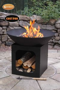 Gardeco Isla Large Cast Iron Firebowl with Log Store