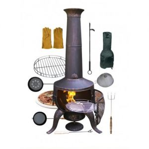 Gardeco Tia Large Bronze Steel and Cast Iron Chiminea with Accessories