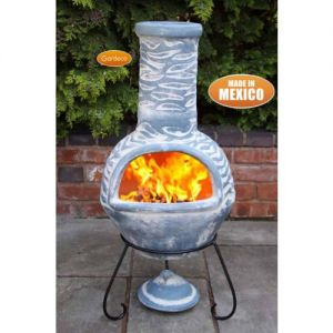 Gardeco Olas Large Mexican Clay Chiminea Bluey Grey