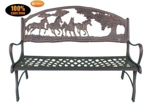 Gardeco Cast Iron Bench with Horses and Tree