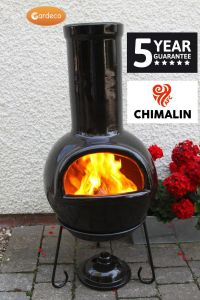 Gardeco Sempra Chimalin AFC Clay Large Glazed Black Chiminea