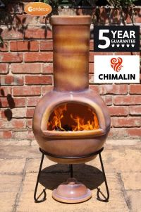 Gardeco Sempra Chimalin AFC Clay Large Glazed Mid Brown Chiminea