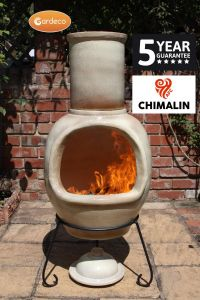 Gardeco Asteria Chimalin AFC Clay Ex-Large Glazed Cappuccino Chiminea