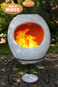 Gardeco Ellipse Extra Large Mexican Clay Chiminea Matt Mottled Grey