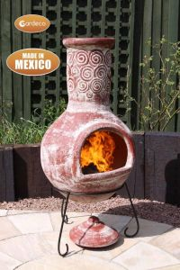Gardeco Espiral Extra Large Mexican Clay Chiminea Rustic Red