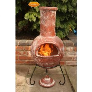 Gardeco Colima Large Mexican Clay Chiminea Red