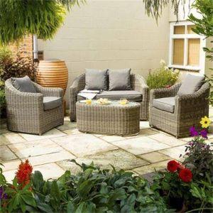 Rowlinson Bunbury Natural Weave Rattan Sofa Set