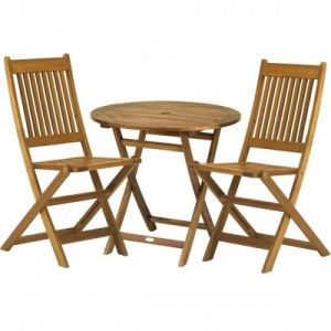 Royalcraft York Folding Hardwood Bistro Set with 2 Manhattan Folding Chairs