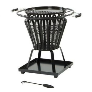 Signa Steel Basket Firepit with removable BBQ grill plate