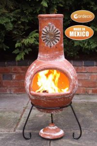 Gardeco Sol Large Rustic Orange Mexican Clay Chiminea
