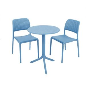 Step Bistro Set with Bistrot Chairs Sky Blue