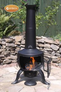 Gardeco Tia Large Black Steel and Cast Iron Chiminea