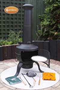 Gardeco Tia Large Black Steel and Cast Iron Chiminea with Accessories