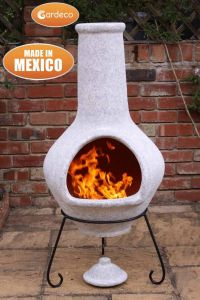 Gardeco Tibor Jumbo Mexican Clay Chiminea Mottled Pale Grey