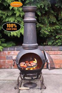 Gardeco Toledo Ex-Large Bronze Cast Iron Chiminea with BBQ Grill
