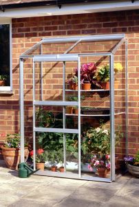 Wall Garden Lean-To Greenhouse (silver aluminium model shown)