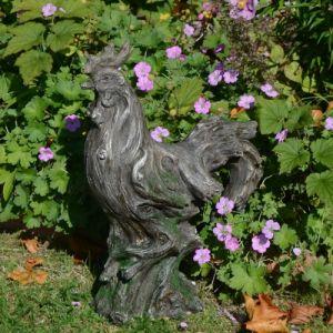 Cockerel Statue Driftwood Effect