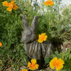 Rabbit Statue Driftwood Effect