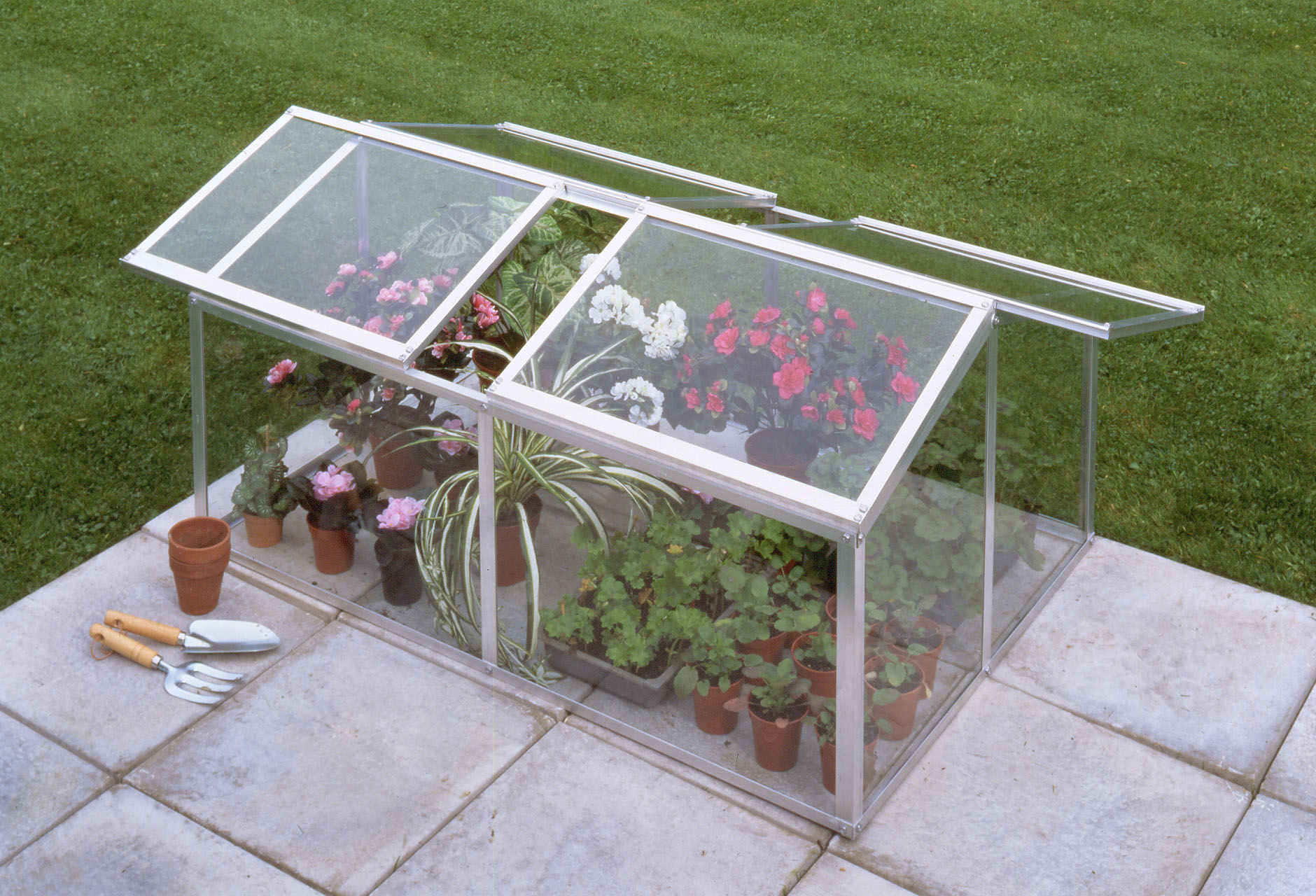 Silver Aluminium Jumbo Cold Frame Horticultural Glass