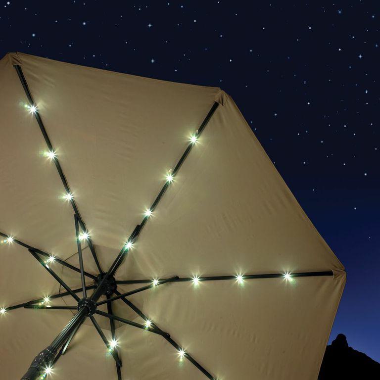 Royalcraft Sahara 2.7m Crank and Tilt Solar Powered LED Strip Parasol