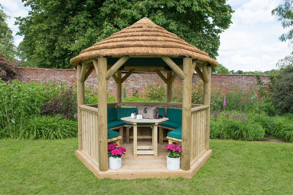 Table, Benches and Cushions for 3m Hexagonal Garden Gazebo - Green