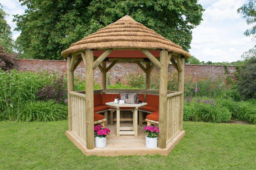 Table, Benches and Cushions for 3m Hexagonal Garden Gazebo - Terracotta