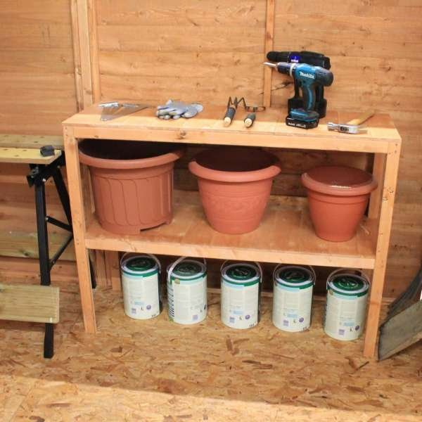 3ft Double Tier Wooden Shelf