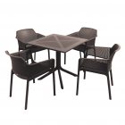 Clip Anthracite Dining Table with 4 Net Chairs