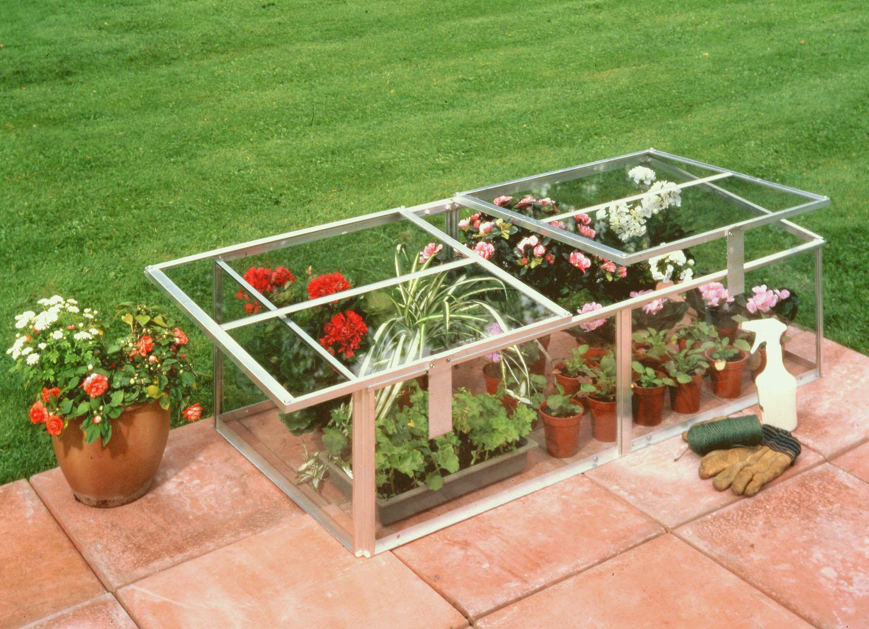 Silver Aluminium Cold Frame 4x2 Horticultural Glass